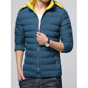 Hooded Color Block Zip-Up Padded Jacket - BLUE 3XL