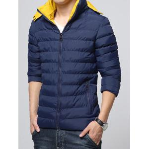 Hooded Color Block Zip-Up Padded Jacket - DEEP BLUE M