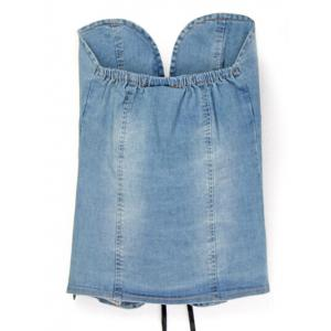 Strapless Lace-Up Denim Tank Top -