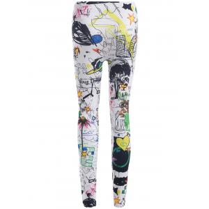 Elastic Waist Printed Leggings -