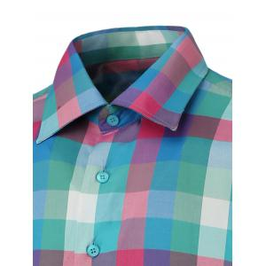 Button Up Long Sleeve Colorful Grid Shirt -
