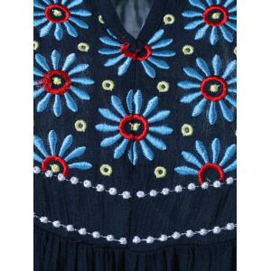 Floral Embroidered Maxican Peasant Blouse - PURPLISH BLUE XL