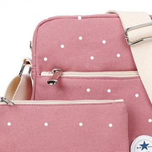 Pocket Polka Dot Crossbody Bag - PALE PINKISH GREY