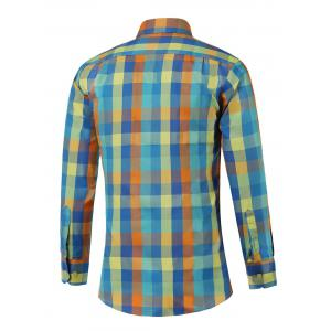 Long Sleeve Button Up Multicolor Plaid Shirt -