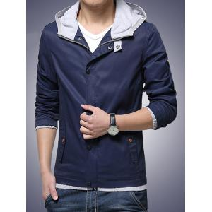 Hooded Drawstring Embellished Zip-Up Jacket - CADETBLUE 2XL