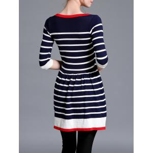 Striped Color Block Sweater Dress - Rayure TAILLE MOYENNE