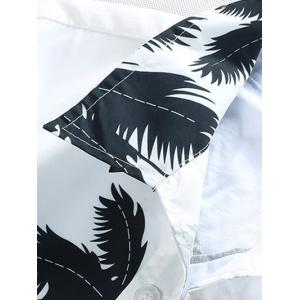 Short Sleeve Coconut Palm Printed Hawaiian Shirt - WHITE XL
