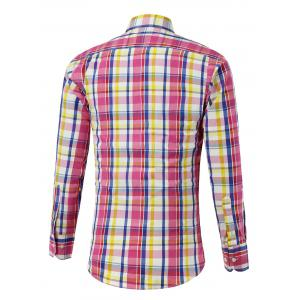 Long Sleeve Button Up Color Splicing Checked Shirt -