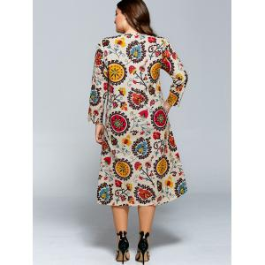 Plus Size Long Sleeve Flower Print Dress -