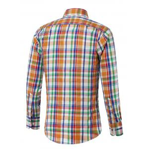 Turn-down Collar Long Sleeve Color Spliced Plaid Shirt -