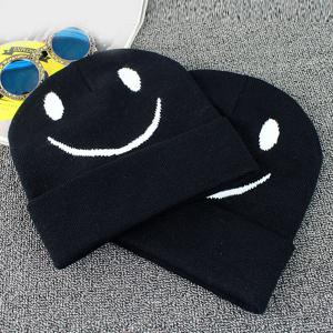 Big Smile Face Embroidery Flanging Knitted Beanie - BLACK