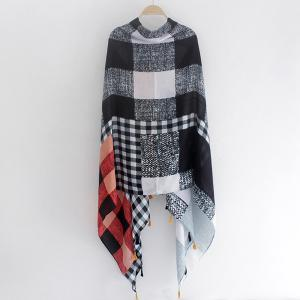 Multicolor Plaid Pattern Small Tassel Shawl Pashmina -