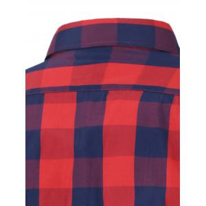 Long Sleeve Color Spliced Checked Shirt - RED 4XL