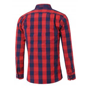 Long Sleeve Color Spliced Checked Shirt - RED XL