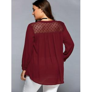 Lace Patchwork Smock Peasant Blouse -
