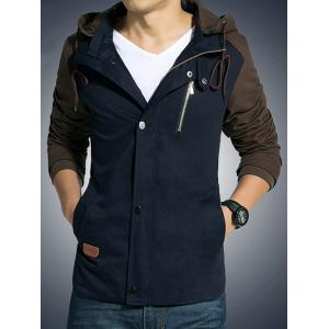 Hooded Drawstring Color Block Zip-Up Jacket -