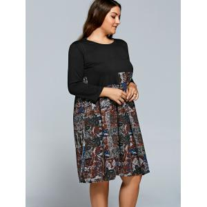 Splicing Print Long Sleeve Plus Size Dress - RED 2XL