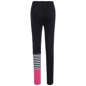 Elastic Waist Striped Print Leggings -