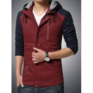 Hooded Drawstring Color Block Cotton-Padded Zip-Up Jacket -