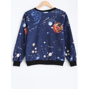 Crew Neck Galaxy Print Sweatshirt - DEEP BLUE ONE SIZE