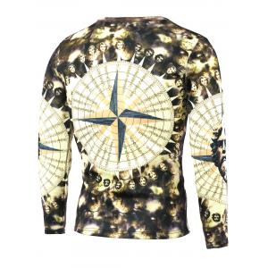 Round Neck Long Sleeve 3D Figure Print T-Shirt - COLORMIX 5XL