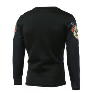 Round Neck Long Sleeve Floral 3D Bird Print T-Shirt - BLACK 5XL