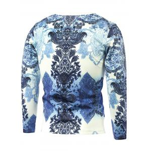 Long Sleeve Abstract Flower Printed T-Shirt - BLUE 5XL
