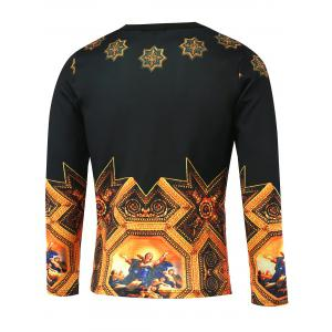 Medieval Painting Printed Long Sleeve T-Shirt - BLACK AND GOLDEN 5XL