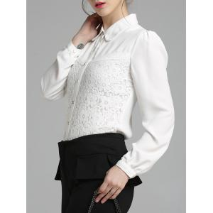 Fitting Long Sleeve Lace Spliced Shirt - WHITE 2XL