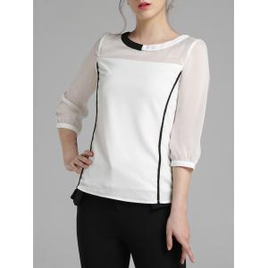 3/4 Sleeve Color Block Chiffon Blouse -