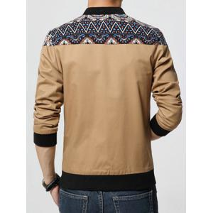 Stand Collar Ethnic Style Print Rib Spliced Zip-Up Jacket - KHAKI 5XL