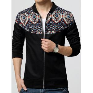 Stand Collar Ethnic Style Print Rib Spliced Zip-Up Jacket -