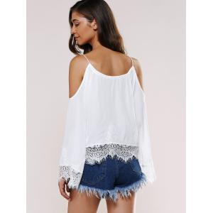 Lace Splicing Cold Shoulder Top -