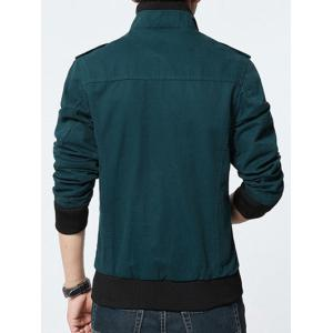 Stand Collar Epaulet Design Rib Spliced Zip-Up Jacket -