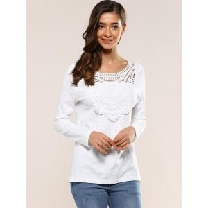 Hollow Out Back Blouse - WHITE XL