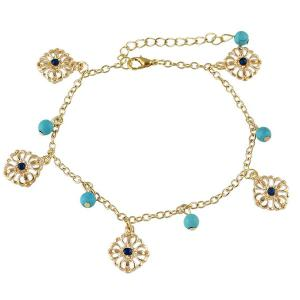 Faux Turquoise Beads Flower Charm Beaded Anklets -
