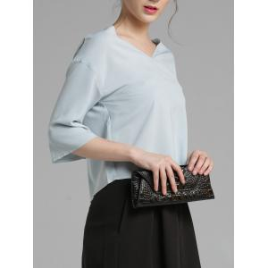 3/4 Sleeve V Neck Loose Blouse -