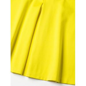 A Line Double Pocket Polo Shirt Dress - YELLOW XL
