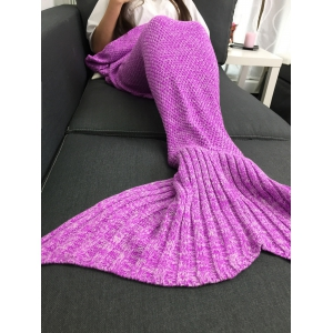 Comfortable Warmth Knitted Sofa Bed Mermaid Blanket - PINK