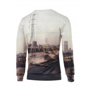 Crew Neck Long Sleeve 3D Printed Sweatshirt - OFF WHITE M