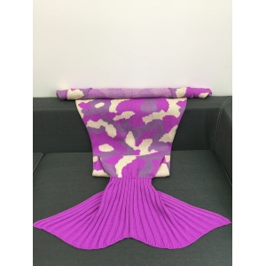 Camouflage Pattern Knitted Sofa Bed Mermaid Blanket - COLORMIX