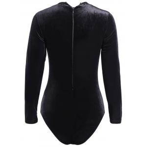 Alluring Long Sleeve See-Through Lace Spliced Bodysuit For Women -