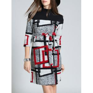 Belted Checked Woolen Dress - RED L