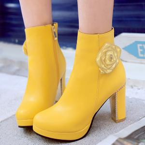 Chunky Heel Flower Zipper Short Boots -