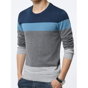 Color Block Spliced Round Neck Long Sleeve Sweater -