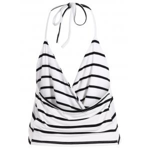 Halter Wrap Striped Short Tank Top -
