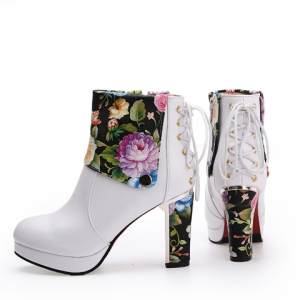 Floral Print Chunky Heel Ankle Boots - WHITE 43