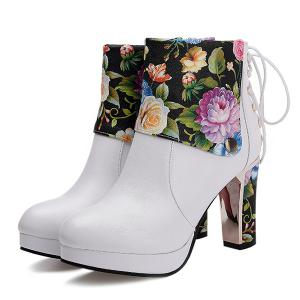 Floral Print Chunky Heel Ankle Boots - WHITE 38