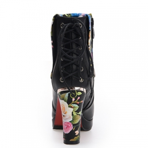 Floral Print Chunky Heel Ankle Boots - BLACK 39