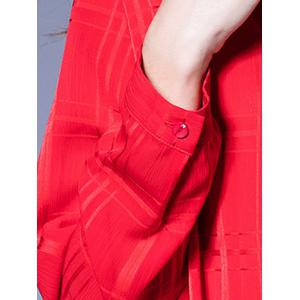 Buttoned Loose-Fitting Ruched Blouse -